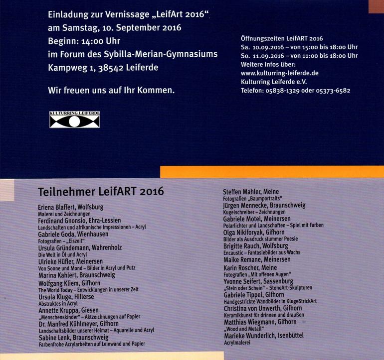 Teilnehmerliste LeifArt 2016